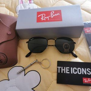 NEW Ray-ban Flat Hexagonal Black classic Sunglasses
